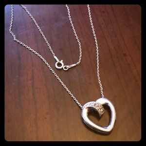 Silver & Diamond Heart Necklace